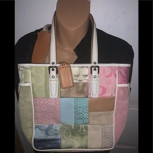 Coach patch work tote and small crossbody bundle